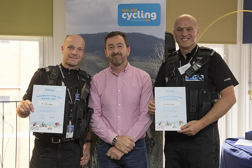 Steve and Mark were recognised at Cycling UK's volunteer awards in 2017