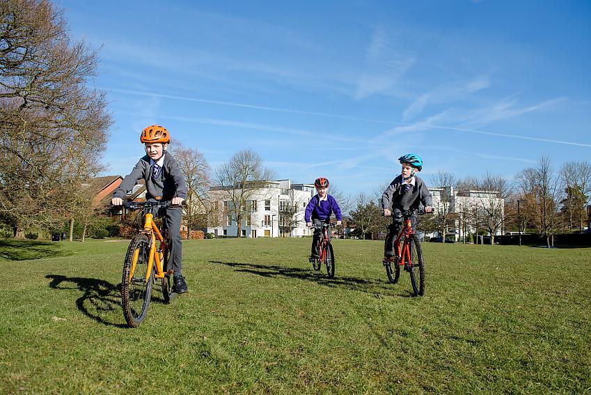 Children cycling to school