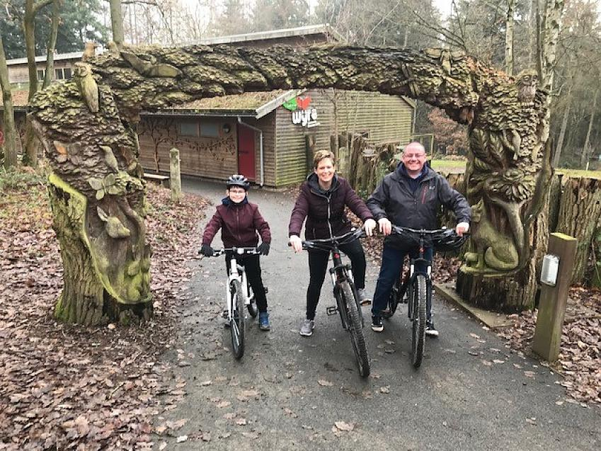 Declan and his family cycling before lockdown