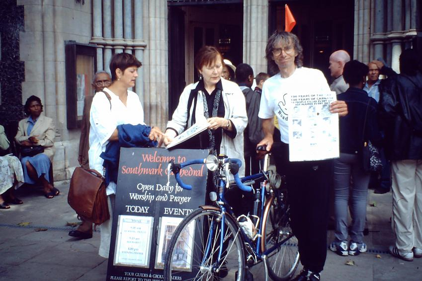 David with representatives of RoadPeace at Southwark Cathedral