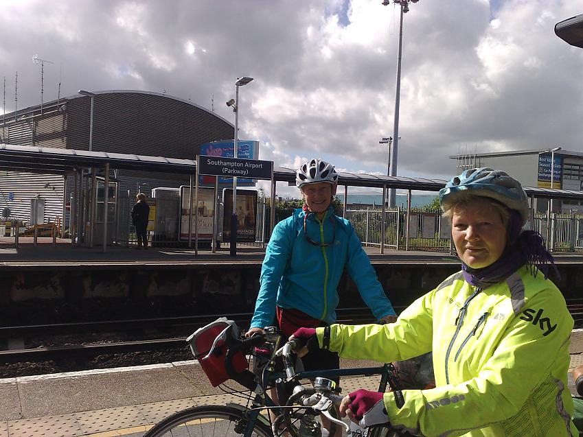 Cycling women with bicycle on trains