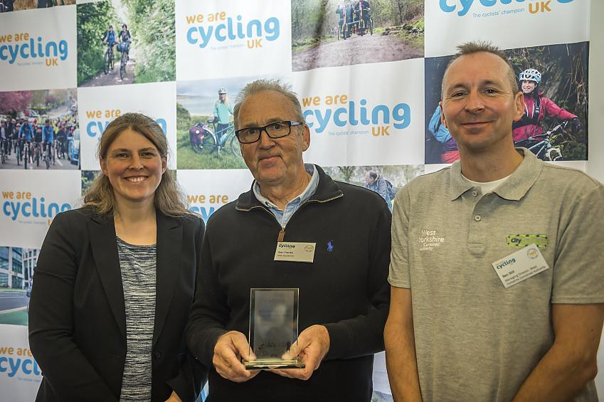 Alan Franks receiving the award for Diss Cyclathon
