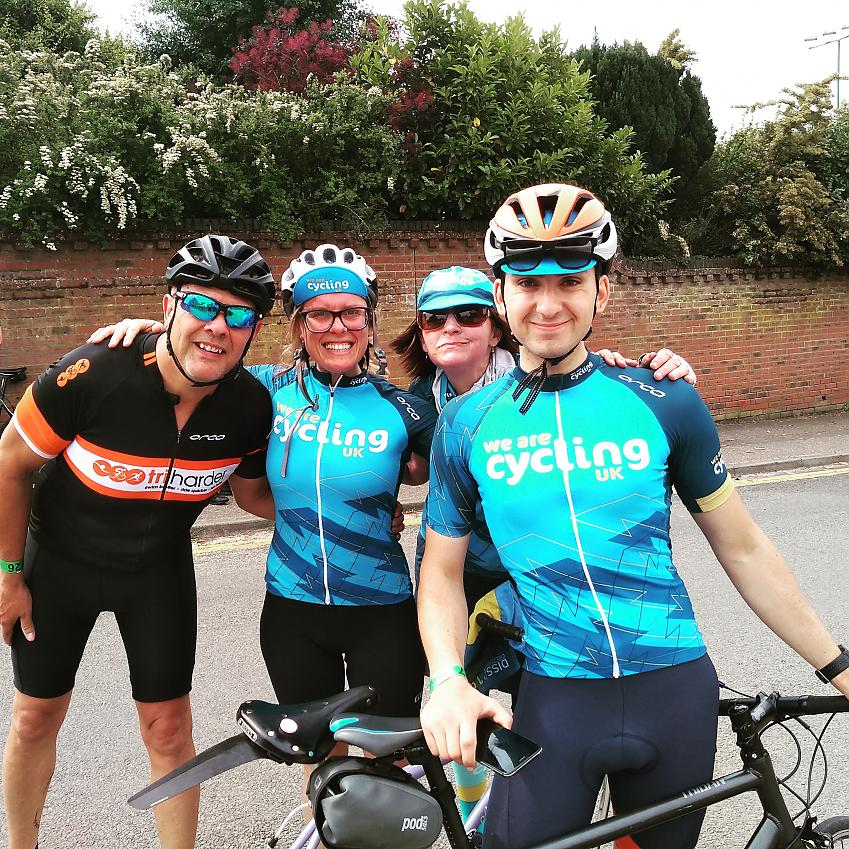 Cycling UK staff with rider Jez