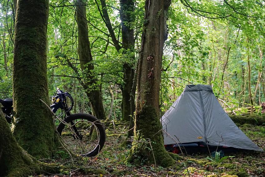 A tent set up in the woods