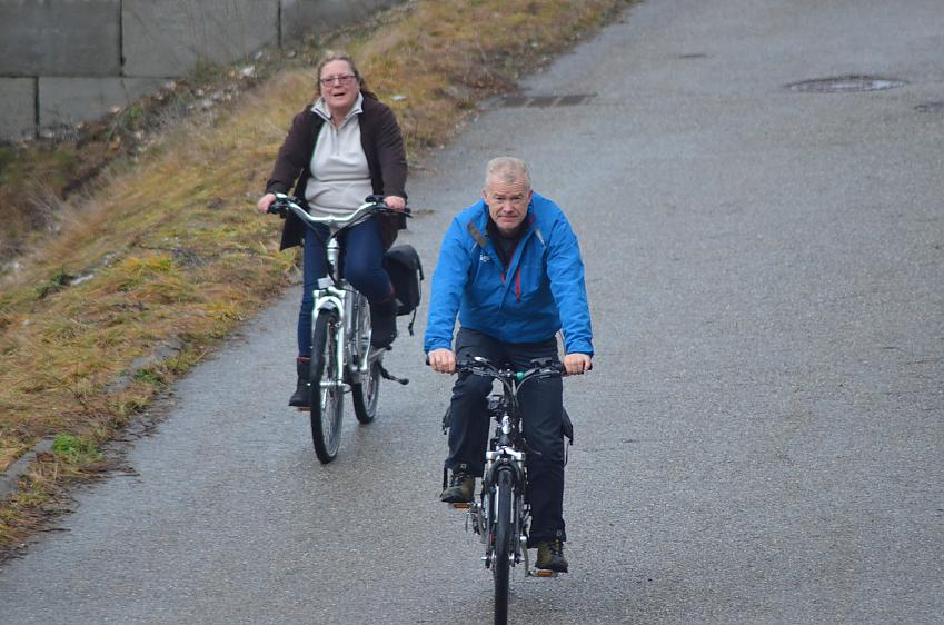 Paul Tuohy and friend, Anne try out the ebike
