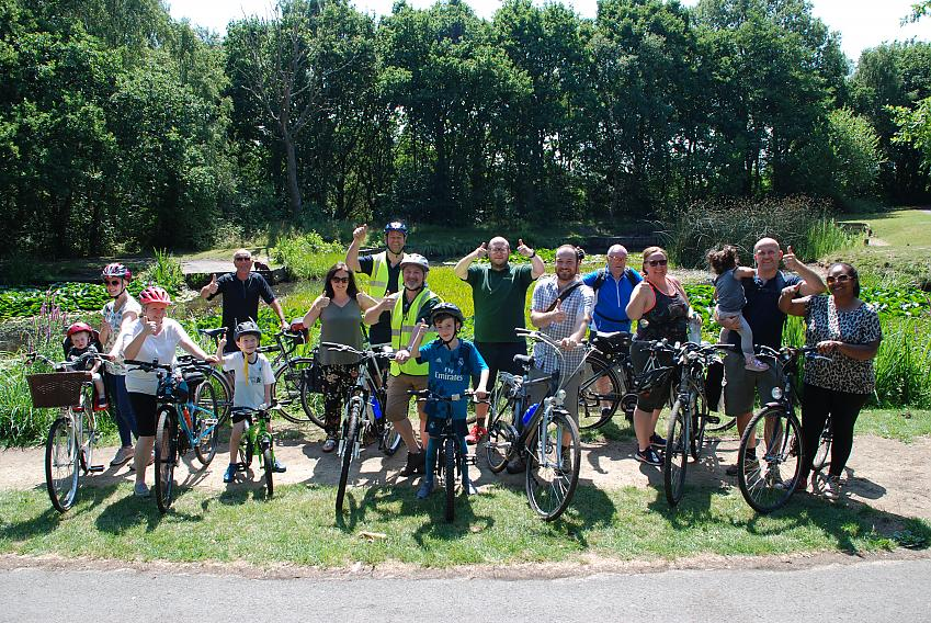 The Cycle Safari group at Ducky Pond, Halewood Park