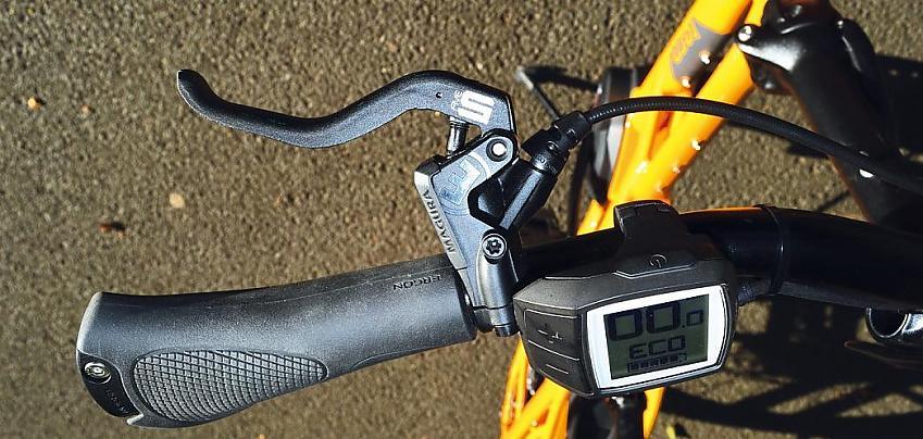 E-bike handlebars showing bike computer