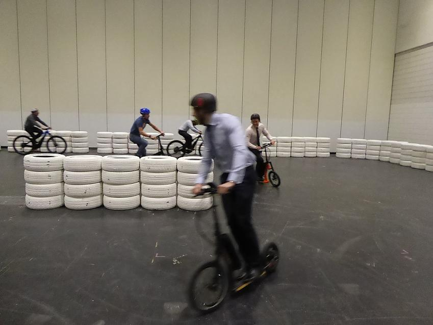 Electric scooters on the test track