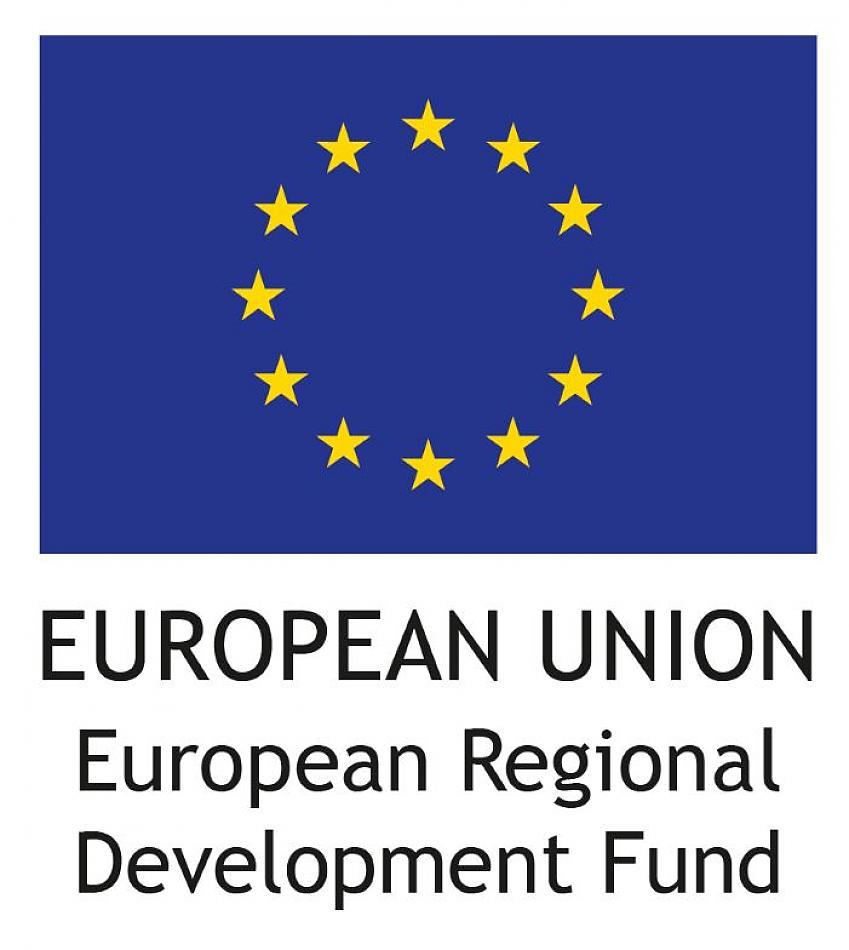A large logo incorporating the blue EU flag