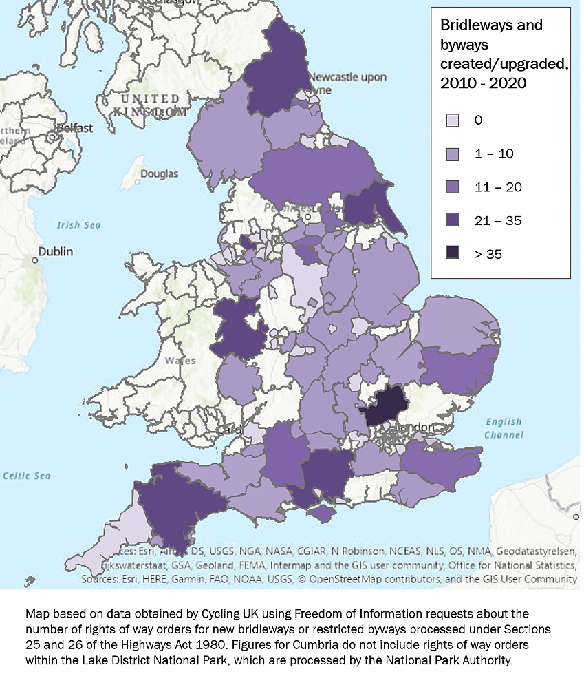 Colour coded map showing how many bridleways and byways councils in England have created or upgraded between 2010-2020