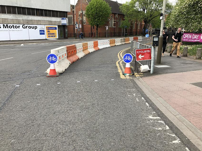 A temporary cycle lane created specifically to make lockdown safer in Leicester