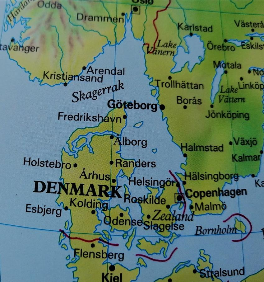 Close up picture of a map of Denmark and Southern Sweden