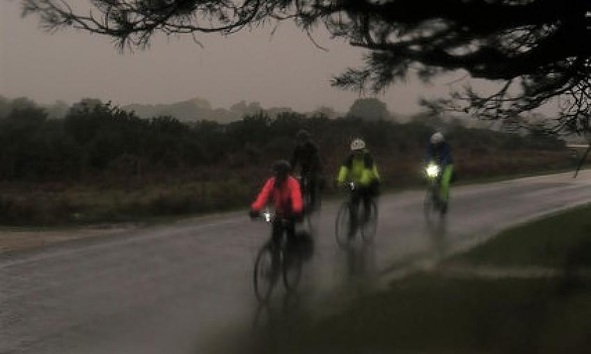 Riders in the rain. Photo by Mike Walsh