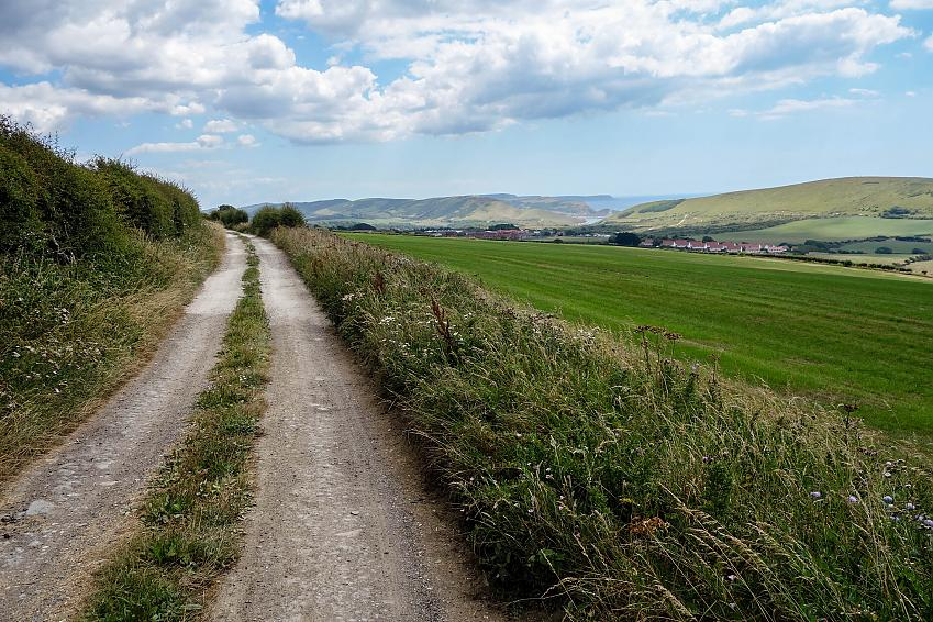 Gravel track through the countryside by the coast