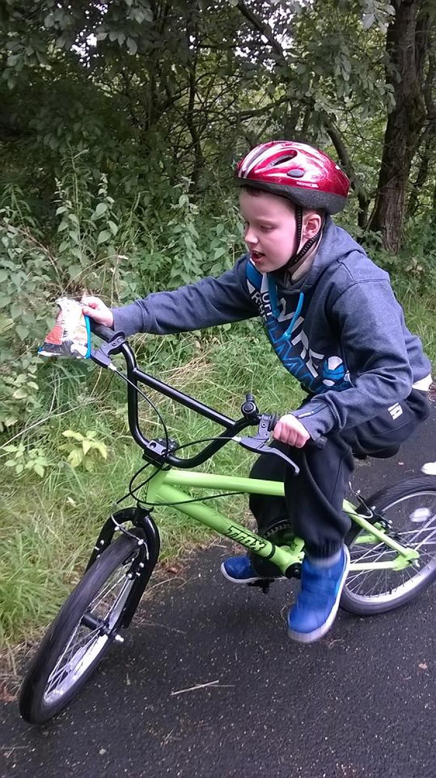 A child riding a bike