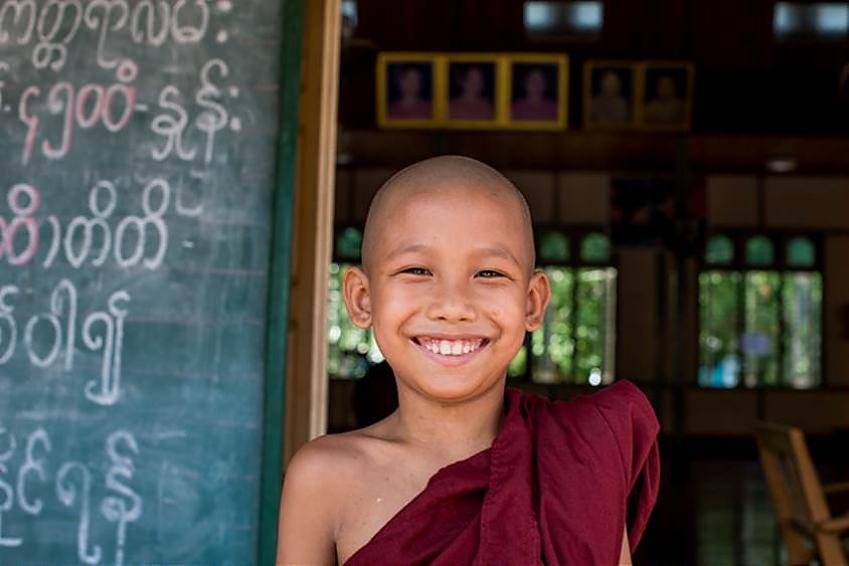 Friendly young Burmese monk