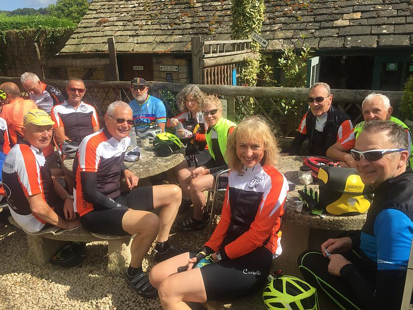 Cyclists from South Manchester CTC enjoying a well earned break