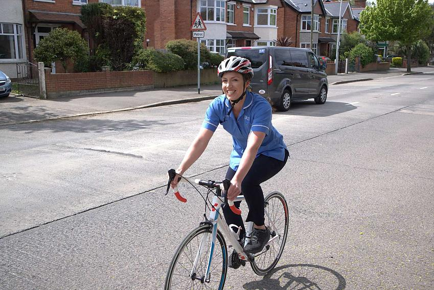 A nurse in Northern Ireland who benefitted from Cycling UK free membership
