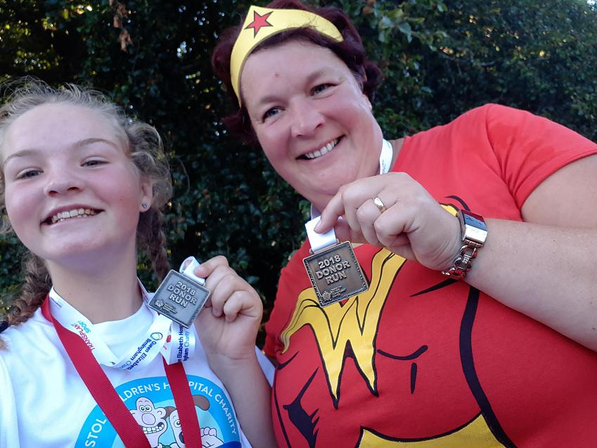 Jaimee and her mother Helen taking part in the Donor Run