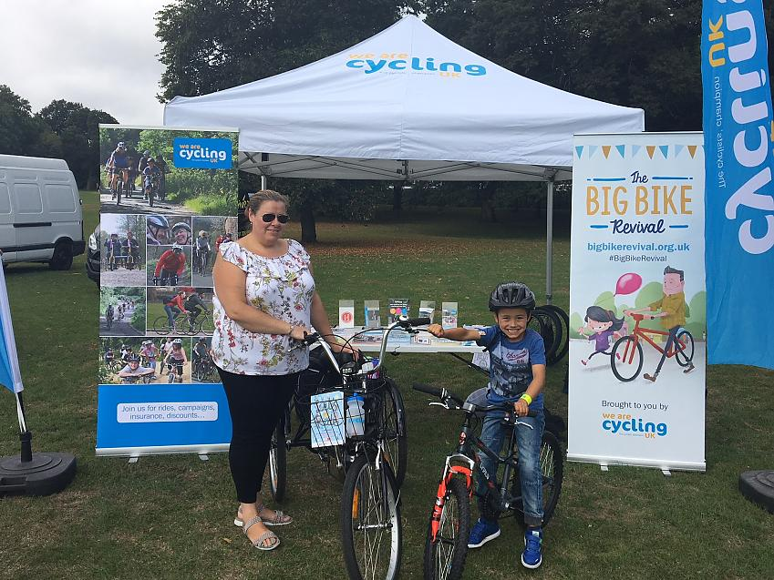 Jane and Lucas Sumner outside the Cycling UK tent