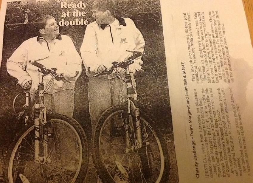 An old newspaper clipping of Janet and Margaret