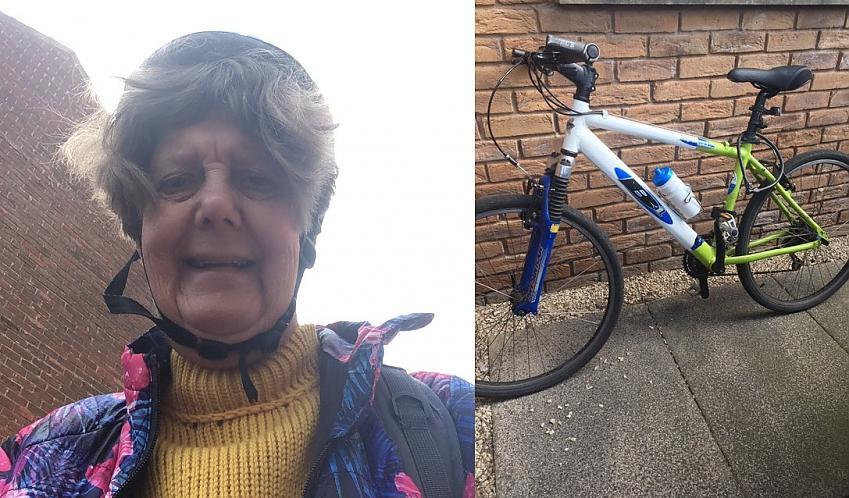 Janet post challenge selfie and her bike