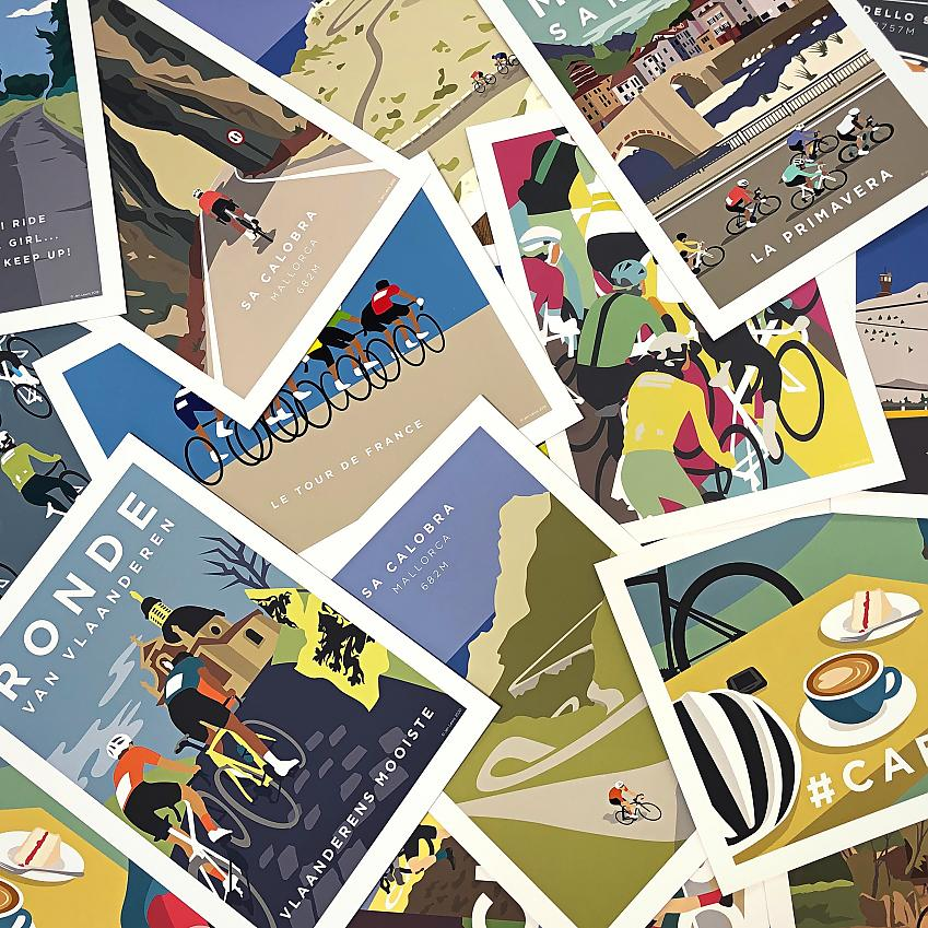 Jen Lewis artwork for cyclists