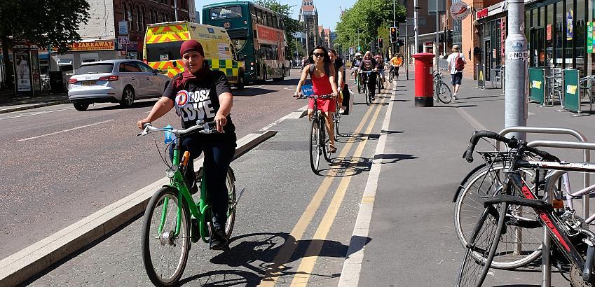 Women riding on segregated cycle lane