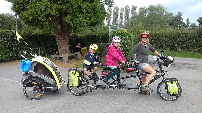 Josie Dew, Cycling UK's Vice President, cycling to school with her family