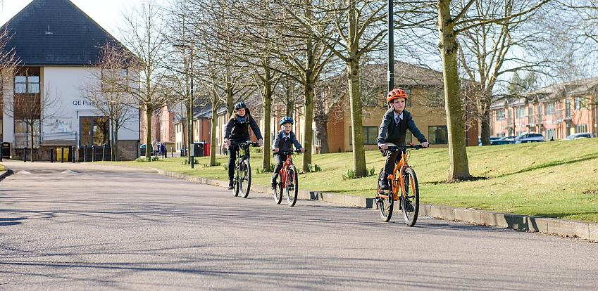 Children cycling to school