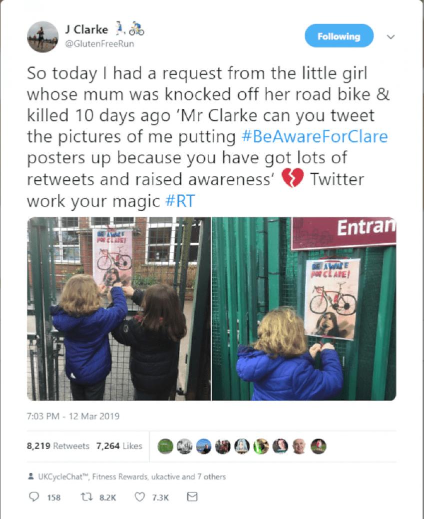 J Clarke's tweet #BeAwareForClare