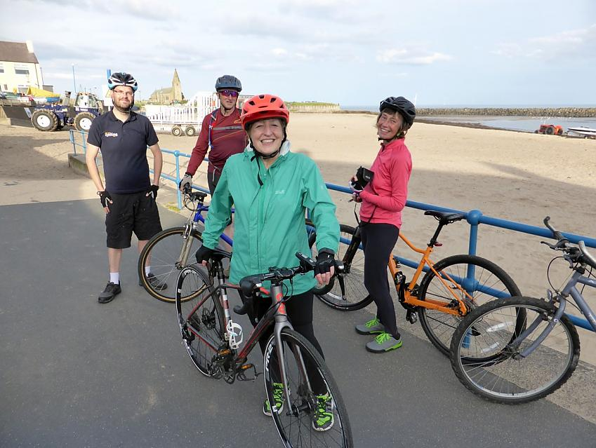 Linda Billett (right) with Susan from the community cycling club (centre), husband Paul and Andrew Thorpe