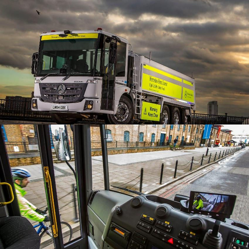 Examples of direct vision lorries. Photo with permission from S&B Commerials Mercedes-Benz Econic