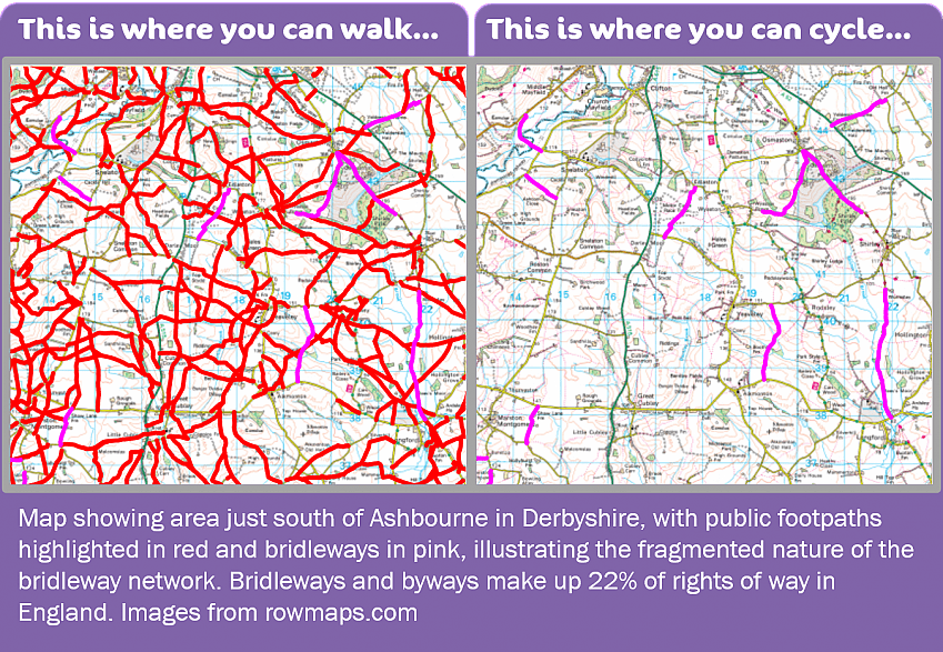 Two maps of an area south of Ashbourne in Derbyshire. The first highlights all the rights of way, showing where you can walk. The second highlights the few bridleways and byways, where you can cycle.
