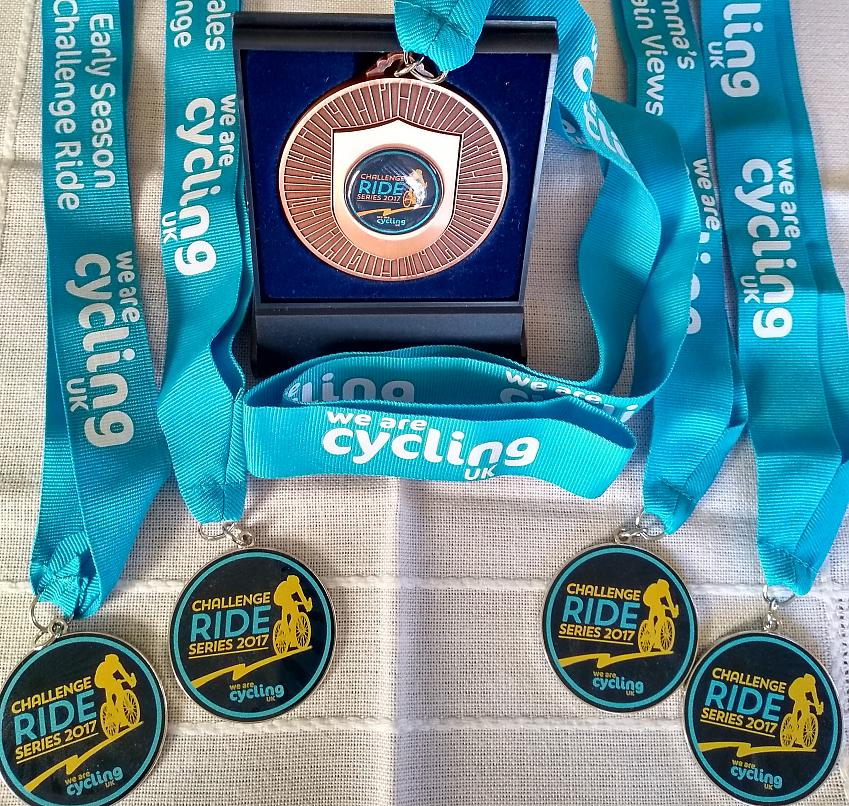 Linda's medal haul from the Challenge Ride Series 2017