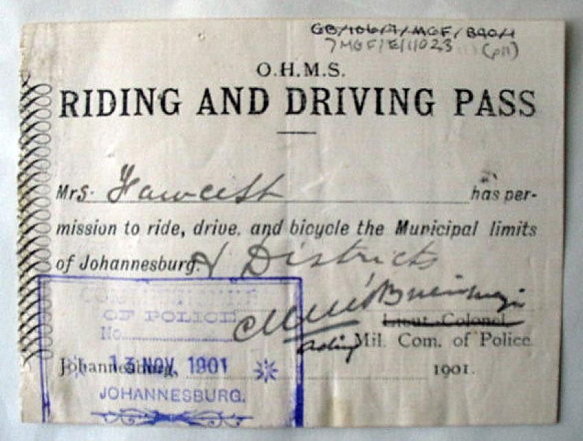 One of Fawcett's bicycle licences