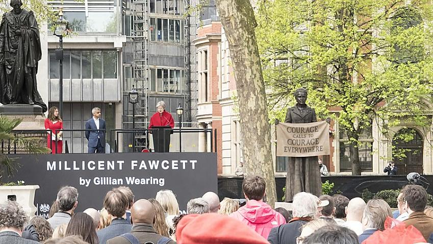 The unveiling of the statue of Millicent Fawcett in April 2018