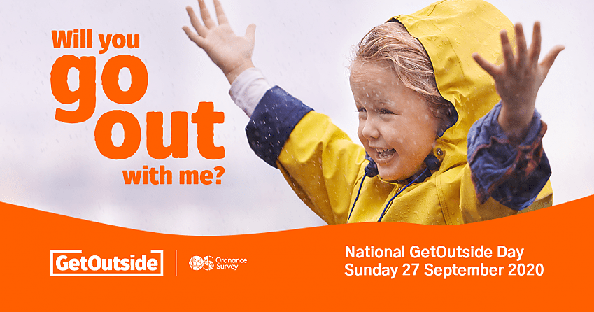 Child in a yellow coat beaming and waving arms in the rain. Text overlay says 'Will you go out with me?'