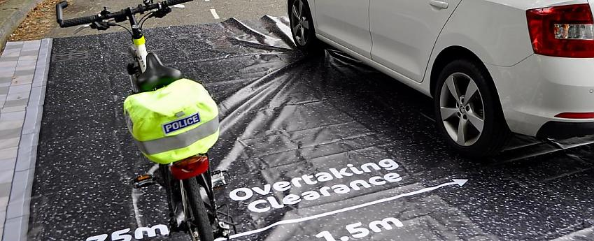 The Devon and Cornwall and Dorset Police Alliance demonstrate their Cycling UK mat