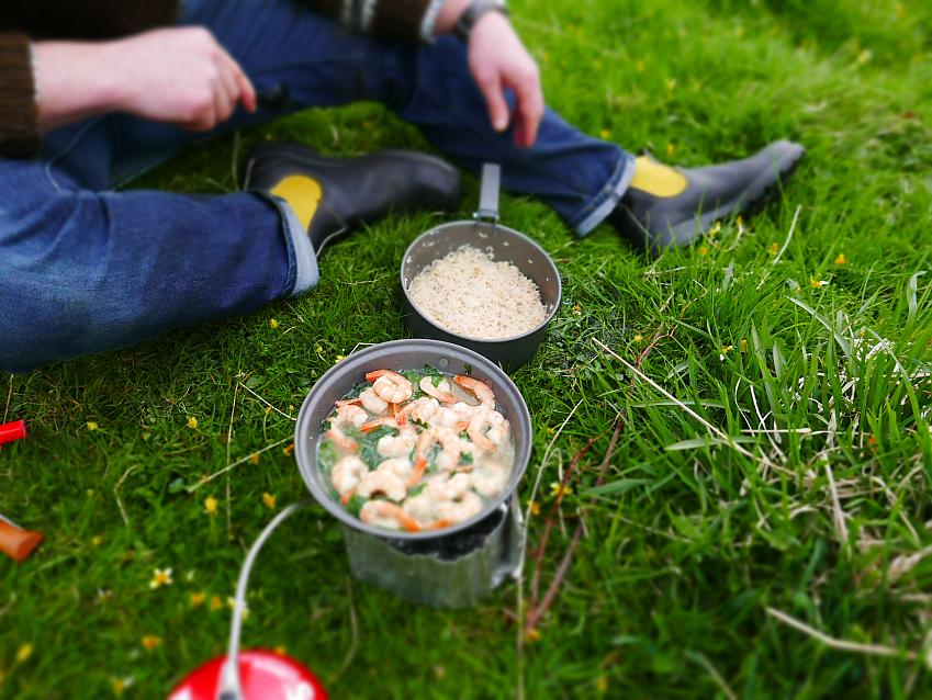 A wild garlic and Hebridean prawn dish cooked on the shores of the Sound of Kerrera, Oban