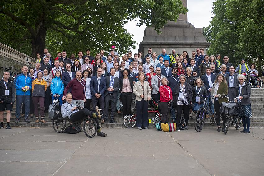 Posing for a photo after the Parliamentary bike ride to kick off Bike Week 2019