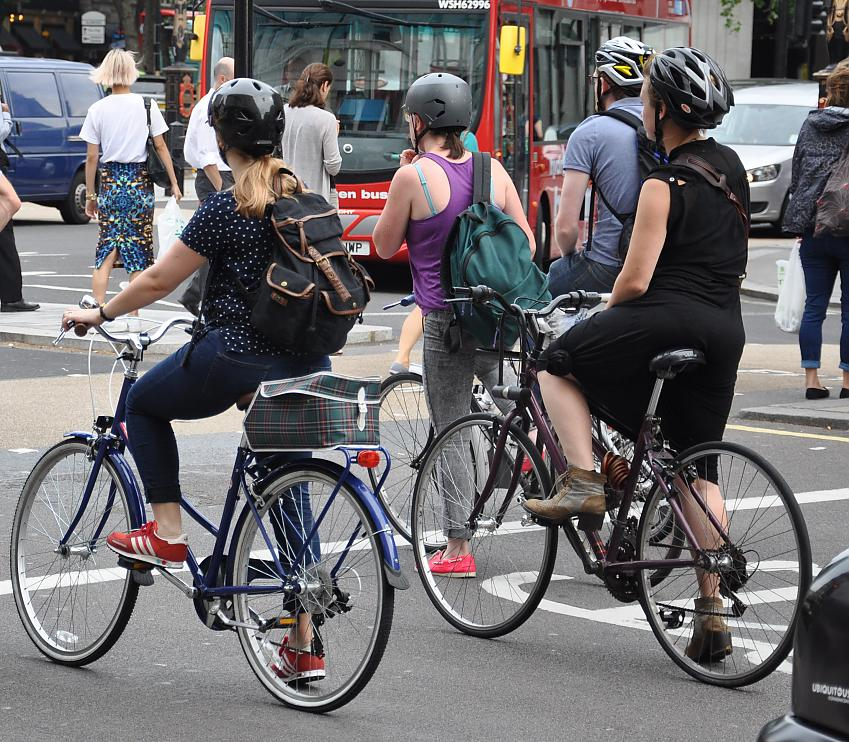 Cyclists at a junction