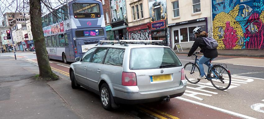 Car parked in cycle lane