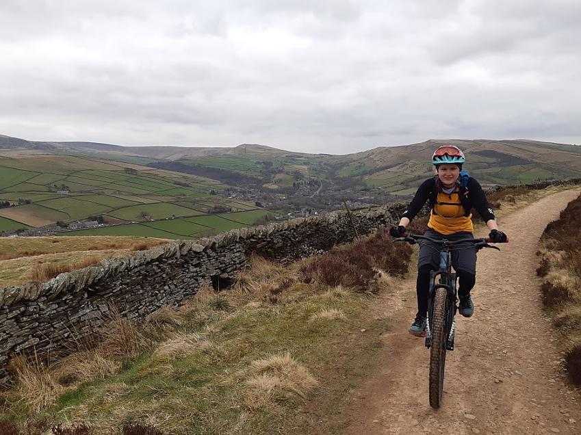 Mountain biker on Peak District trail