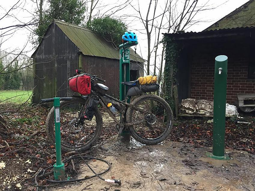 A mountain bike at the tool station on the South Downs Way