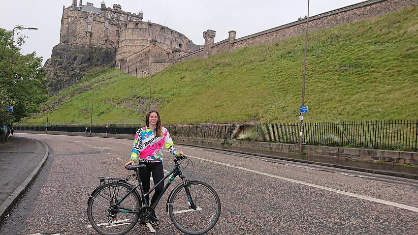 Student nurse Polly with her bike in Edinburgh