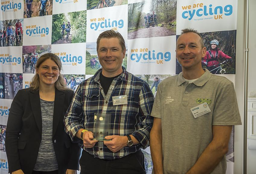 Ian Saunders receiving the award for Portsmouth Cycle Forum