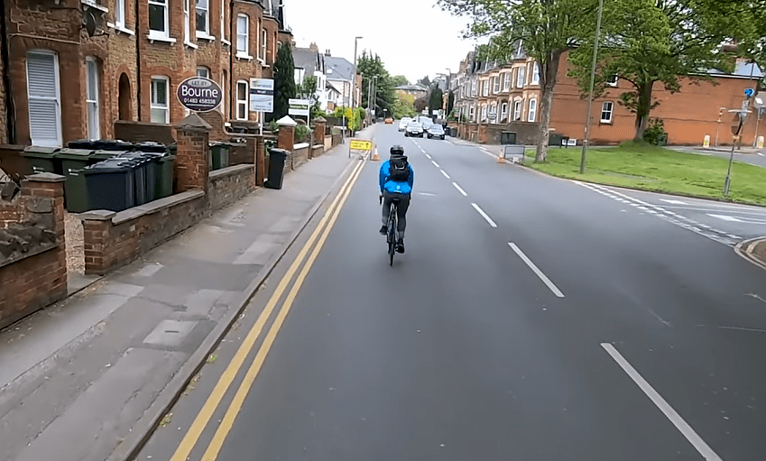 An example of using 'primary' position, with the cyclist taking the centre of the lane.
