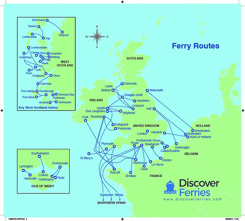Ferry routes available through Discover Ferries