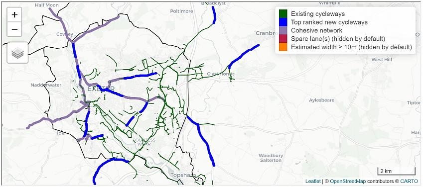 Map of potential cycle routes in Exeter using the Rapid Cycleway Prioritisation Tool